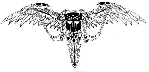 black transformer logo with wings tattoo stencil by joseph lisby. Black Bedroom Furniture Sets. Home Design Ideas