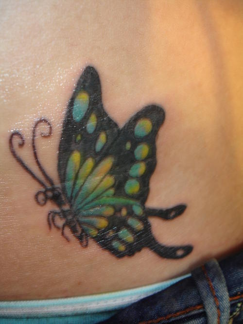 Butterfly Tattoo On Hip |Tribal Butterfly Tattoos On Hip