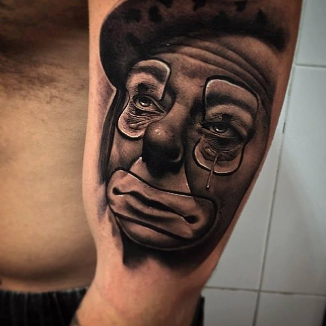6e838246e Crying Joker Face Tattoo On Half Sleeve by Pxa Body Art