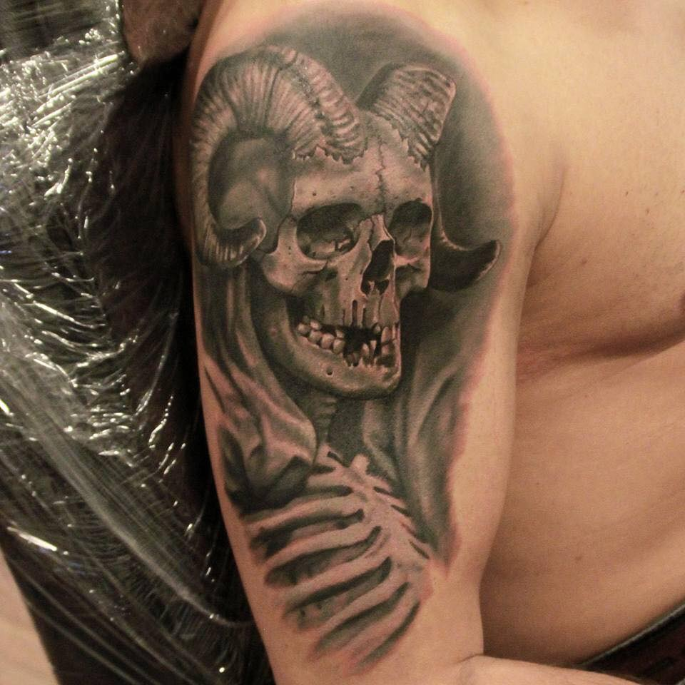 a6e39bd03 Grey Ink Demon Skull Tattoo On Right Half Sleeve by Alex Ant