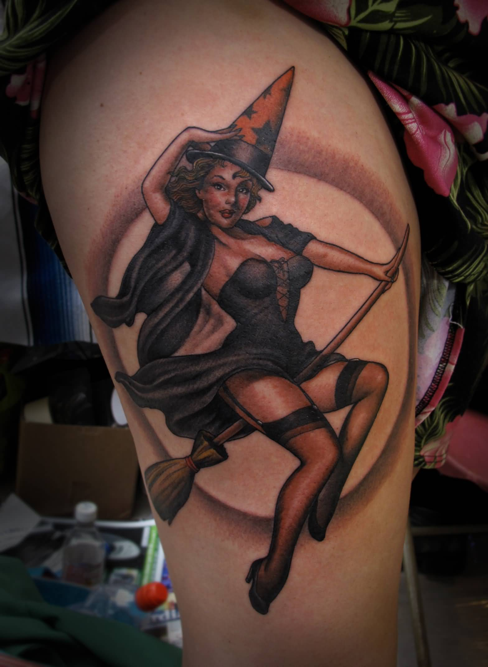 0da87a151953f Grey Ink Moon And Witch Tattoo On Side Thigh
