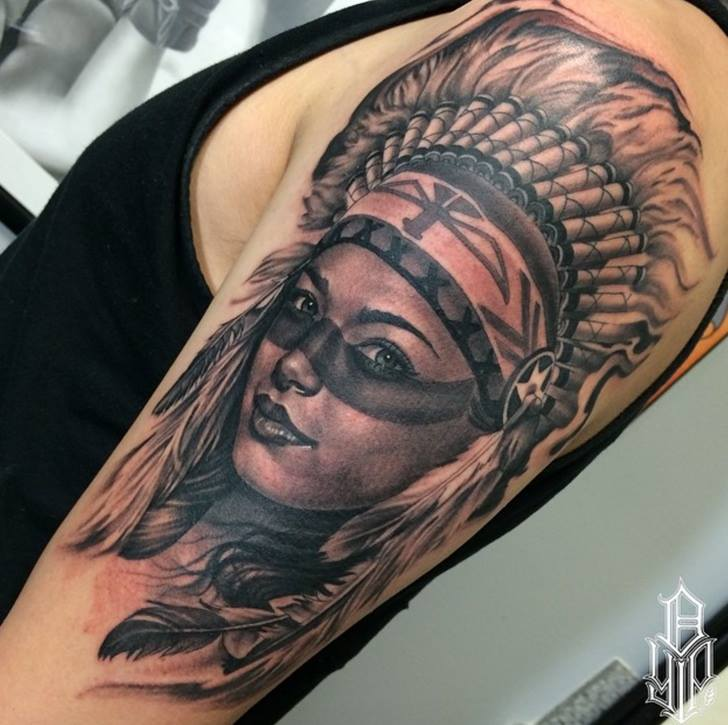 Grey Ink Native Girl Tattoo On Left Half Sleeve By Dustin Yip