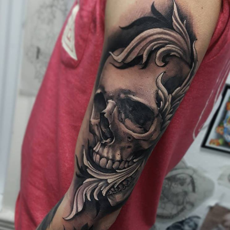 Grey Ink Skull Tattoo On Left Half Sleeve By Little Nick