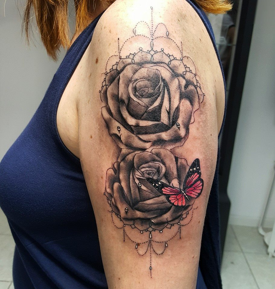 Clock forearm black rose sleeve tattoo - Grey Rose Flowers And Color Butterfly Tattoo On Left Half Sleeve By David Torres
