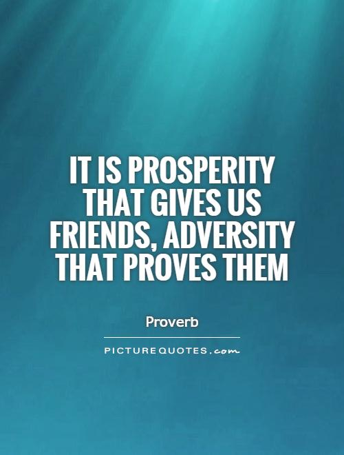 It is prosperity that gives us friends, adversity that proves them.