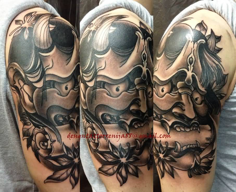11 nice hannya mask tattoos on half sleeve. Black Bedroom Furniture Sets. Home Design Ideas