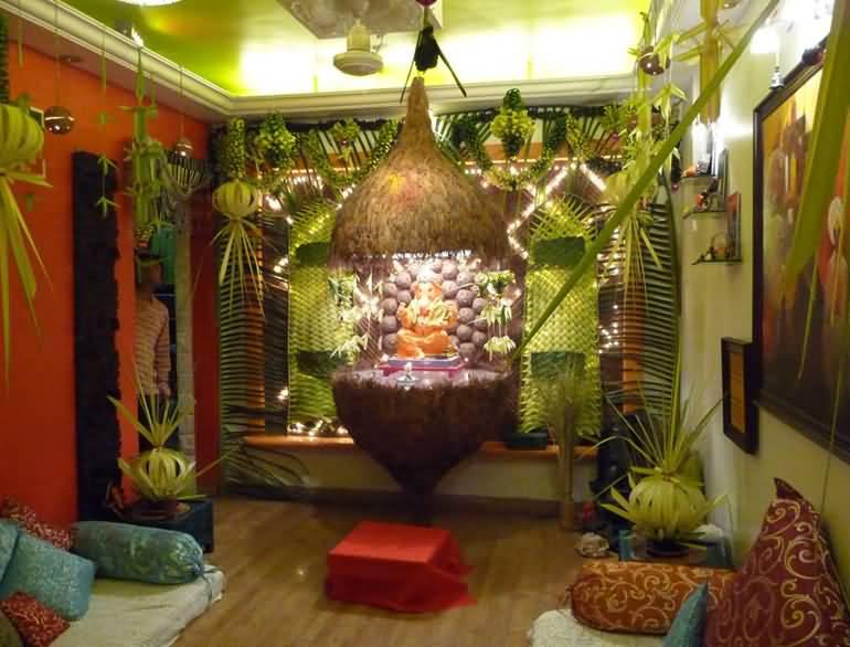 Lord ganesha idol in coconut beautiful decoration idea for ganesh chaturthi