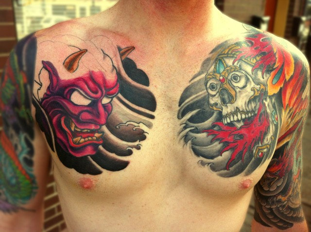 native skull and hannya tattoos on man chest. Black Bedroom Furniture Sets. Home Design Ideas