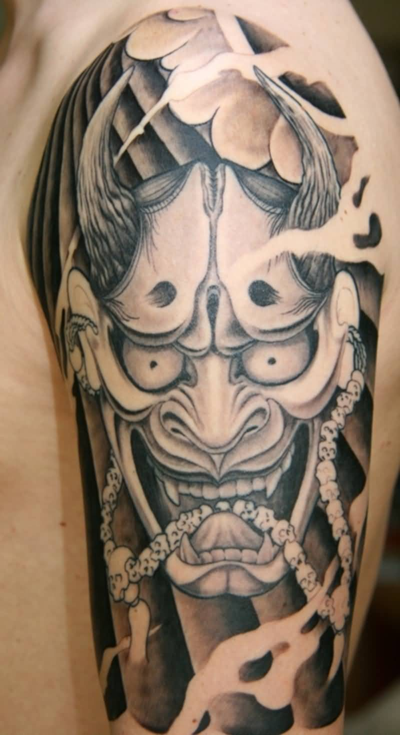 Red ink hannya mask tattoo on half sleeve for Japanese mask tattoo