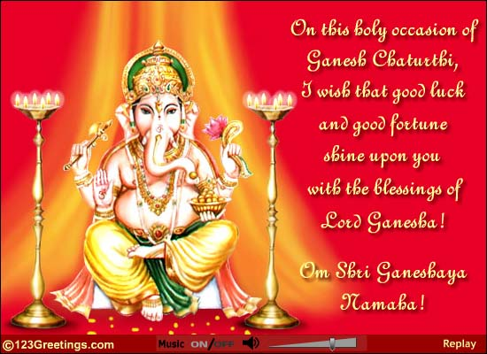 50 very beautiful ganesh chaturthi greeting card pictures and images on this holy occasion of ganesh chaturthi i wish that good luck and good fortune shine stopboris Gallery