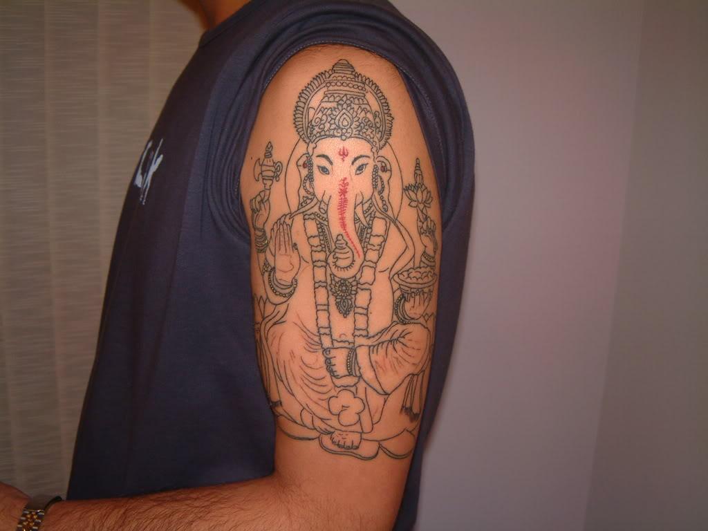 15 ganesha half sleeve tattoos for Ganesh tattoo pictures