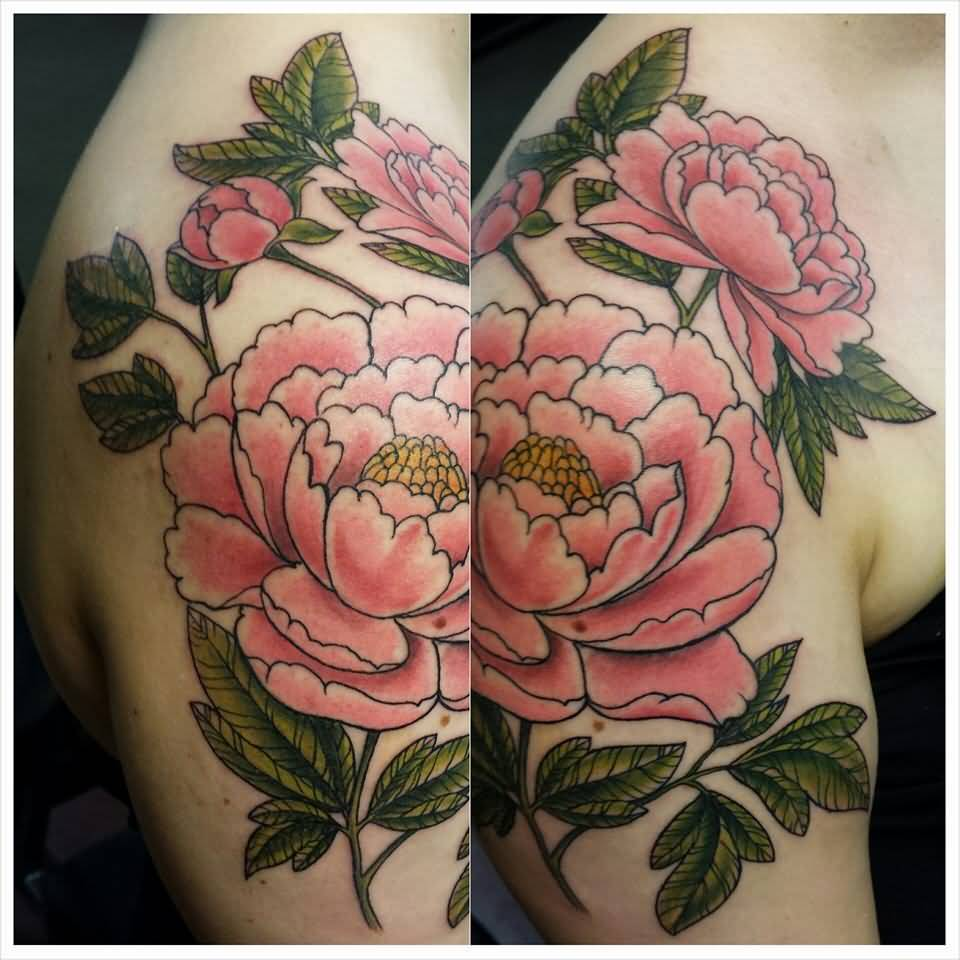 30 amazing shoulders peony tattoos for Red carnation tattoo