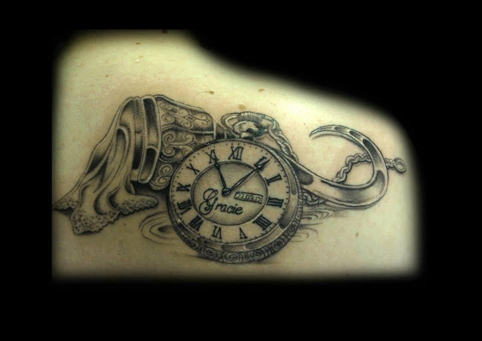 black ink pirate skull with pocket watch and roses tattoo design. Black Bedroom Furniture Sets. Home Design Ideas