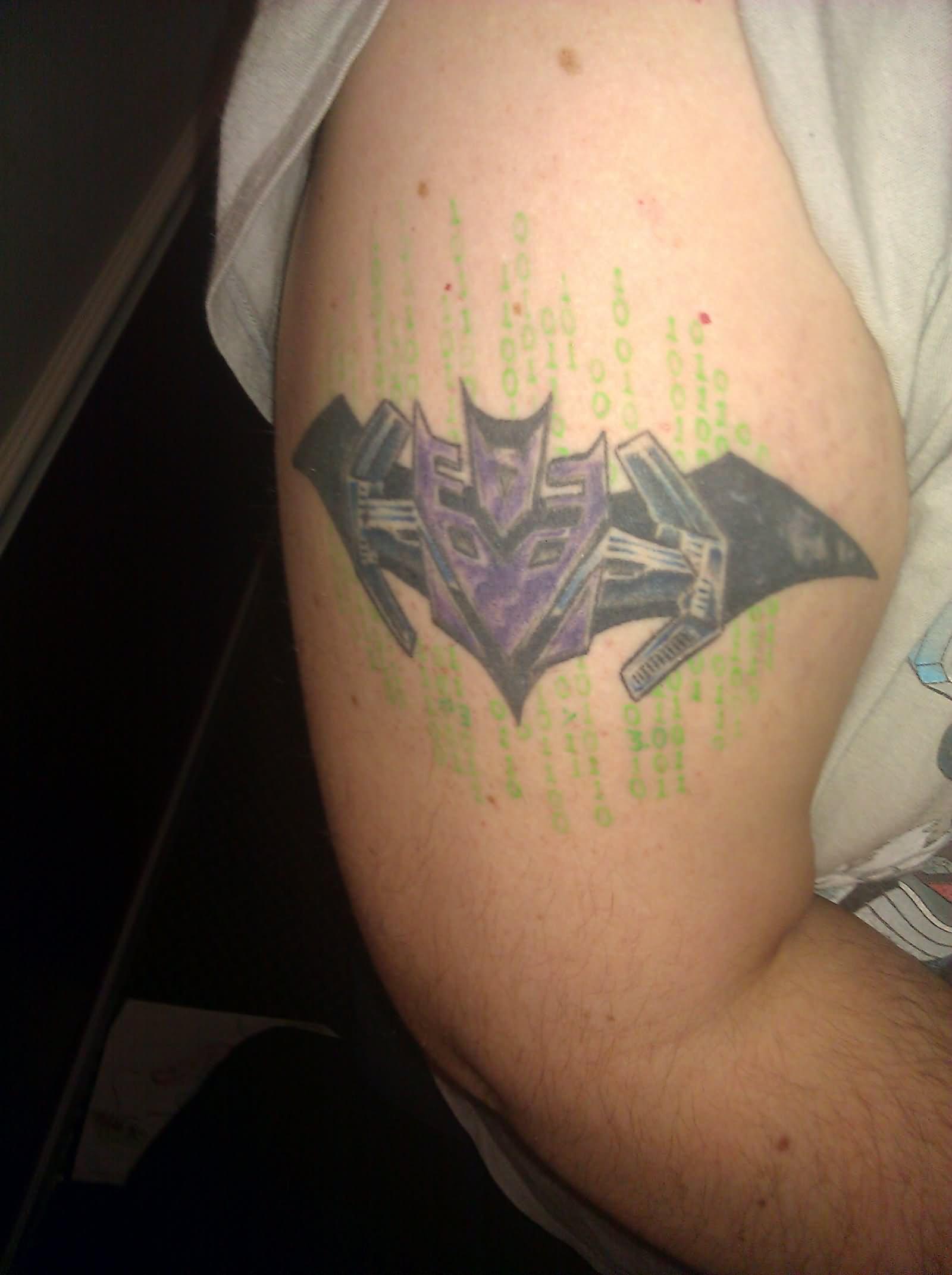 37 transformer logo and symbol tattoos purple ink transformer symbol tattoo on right half sleeve buycottarizona