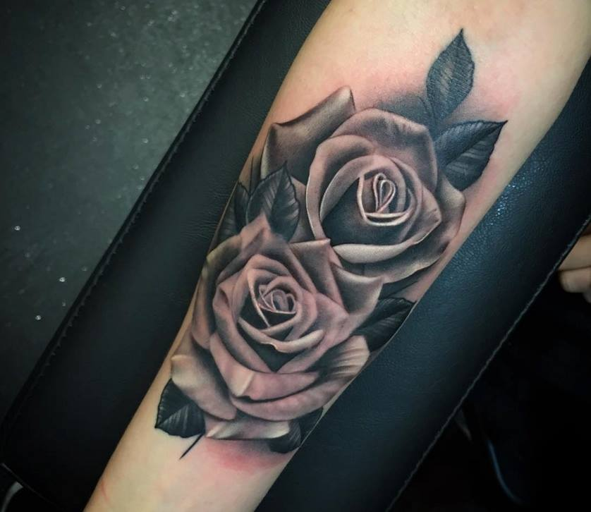 realistic grey rose tattoos on arm sleeve by justin burnout. Black Bedroom Furniture Sets. Home Design Ideas