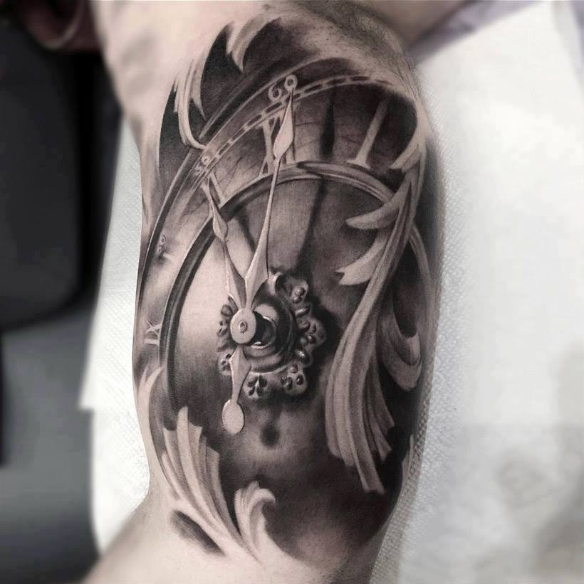 Black And Gray Clock And Skull Tattoos On Bicep: 4 Latest Pocket Watch Tattoos Ideas