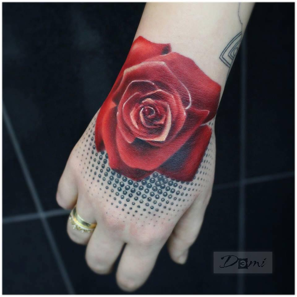 Red Rose Tattoo On Right Hand By Sergey Shulga