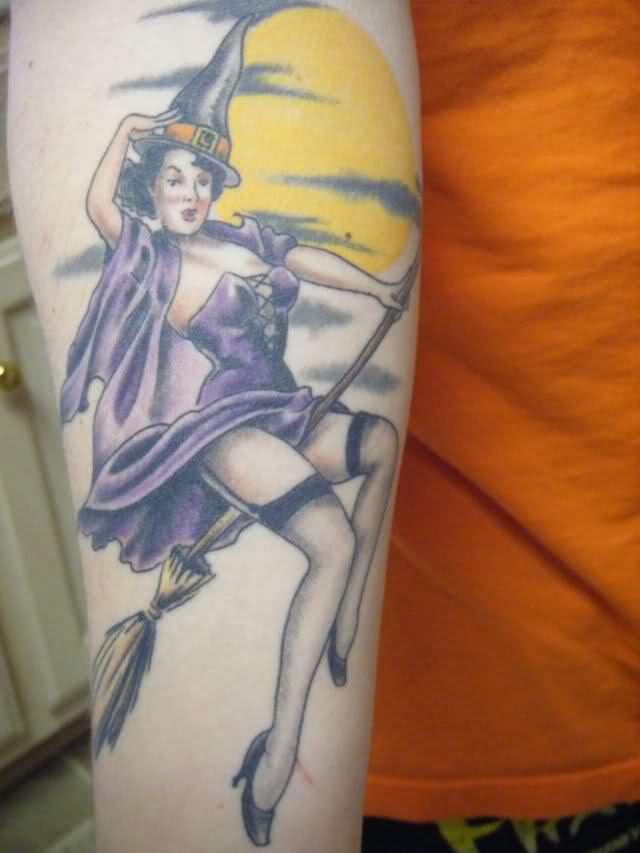 7f0ca63e4c1b1 Right Sleeve Color Witch Tattoo