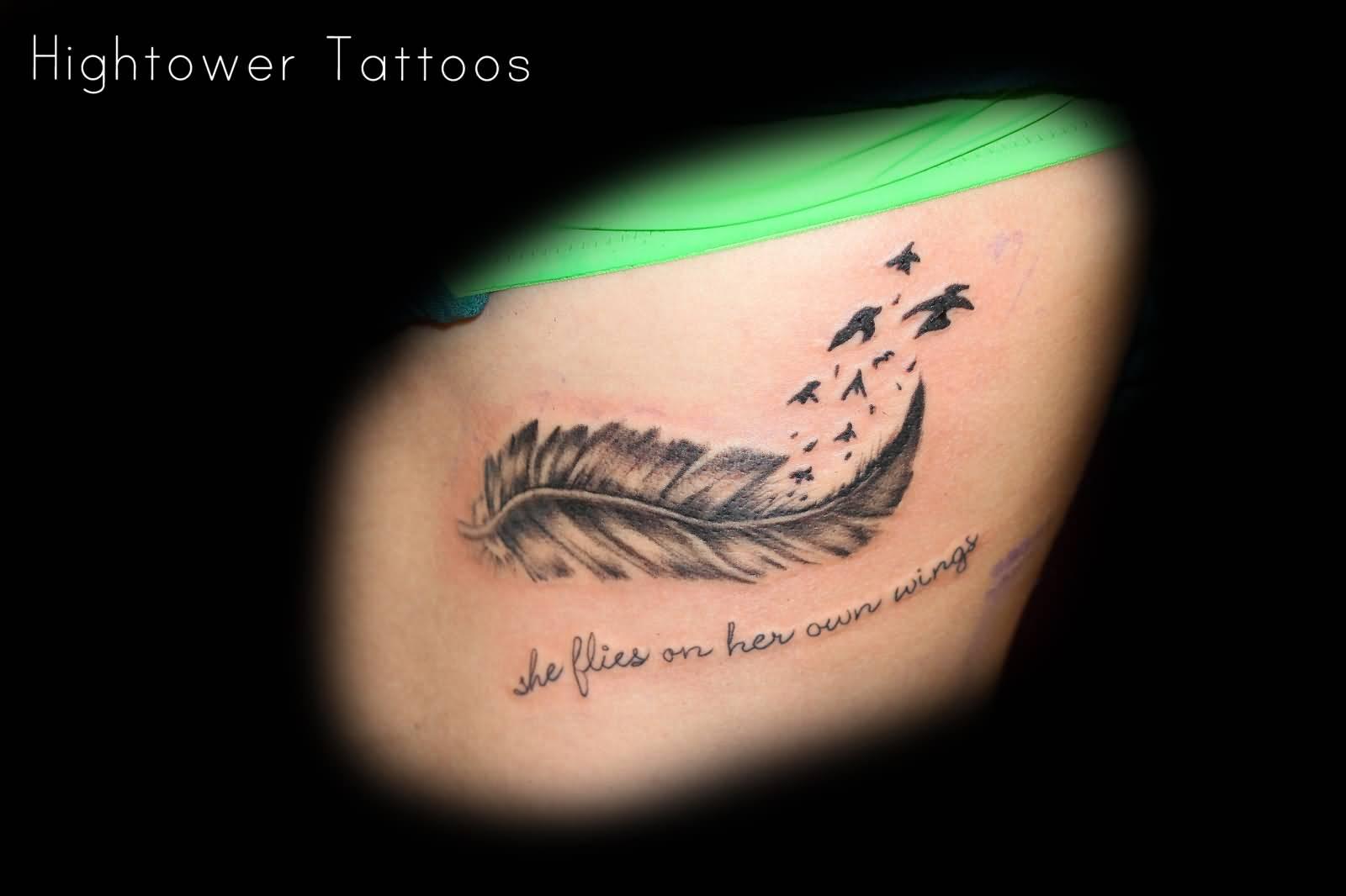 39 beautiful feather hip tattoos