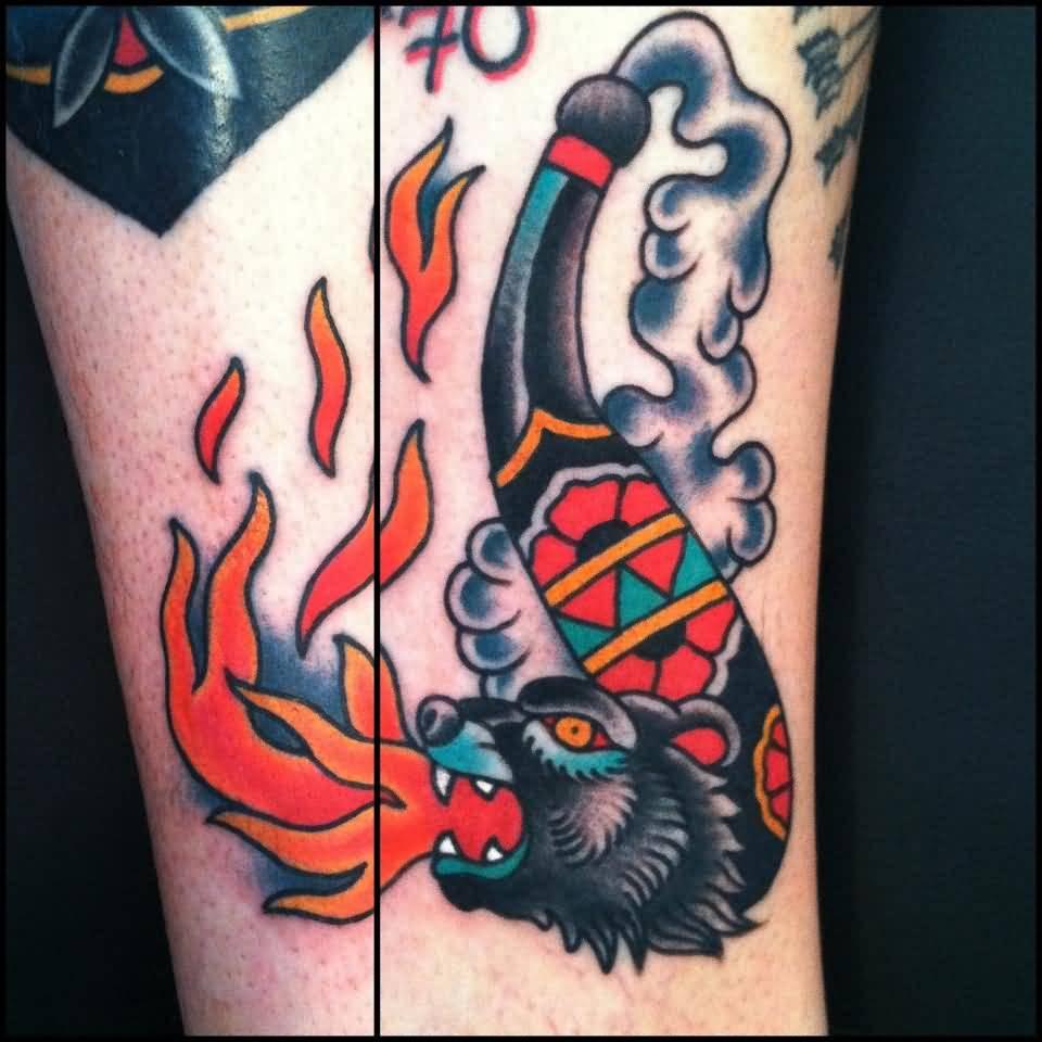 Traditional bear head tattoo - photo#21