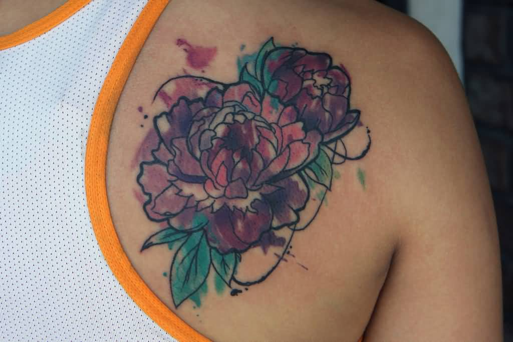 f47b1175d Watercolor Peony Flowers Tattoo On Right Back Shoulder