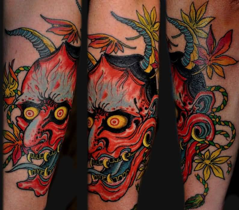 62 japanese hannya mask tattoos for Japanese sleeve tattoos meanings
