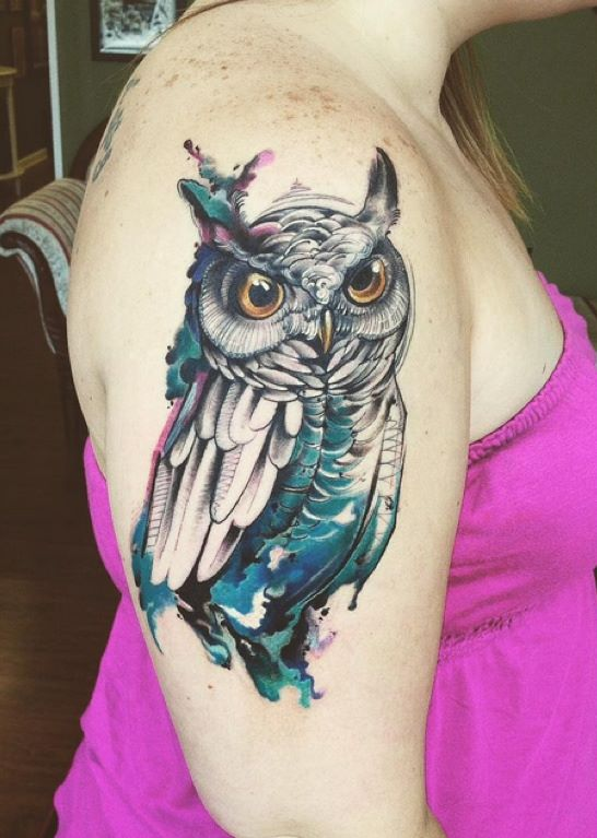 Yellow Eyes Owl Tattoo On Girl Right Half Sleeve Owl Sleeve Tattoos For Girls
