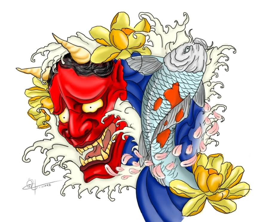Yellow koi tattoo