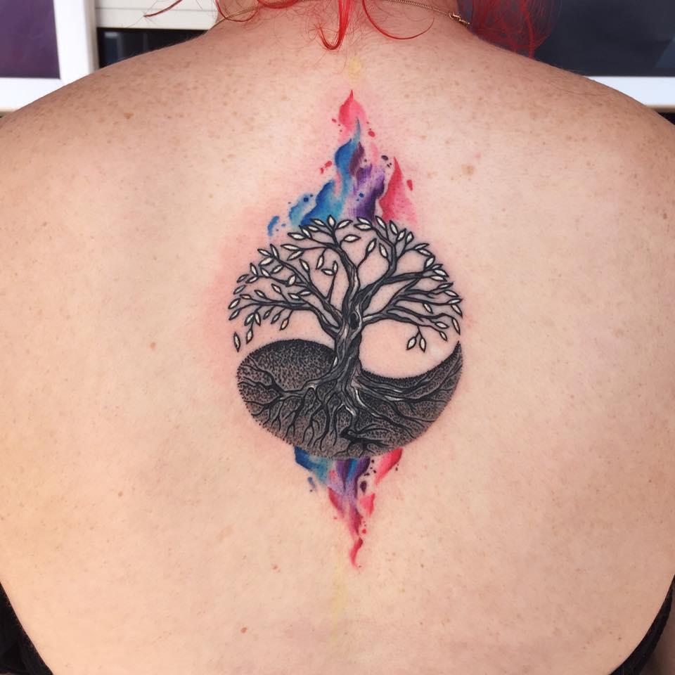 yin yang tree tattoo on upper back by miss jade. Black Bedroom Furniture Sets. Home Design Ideas