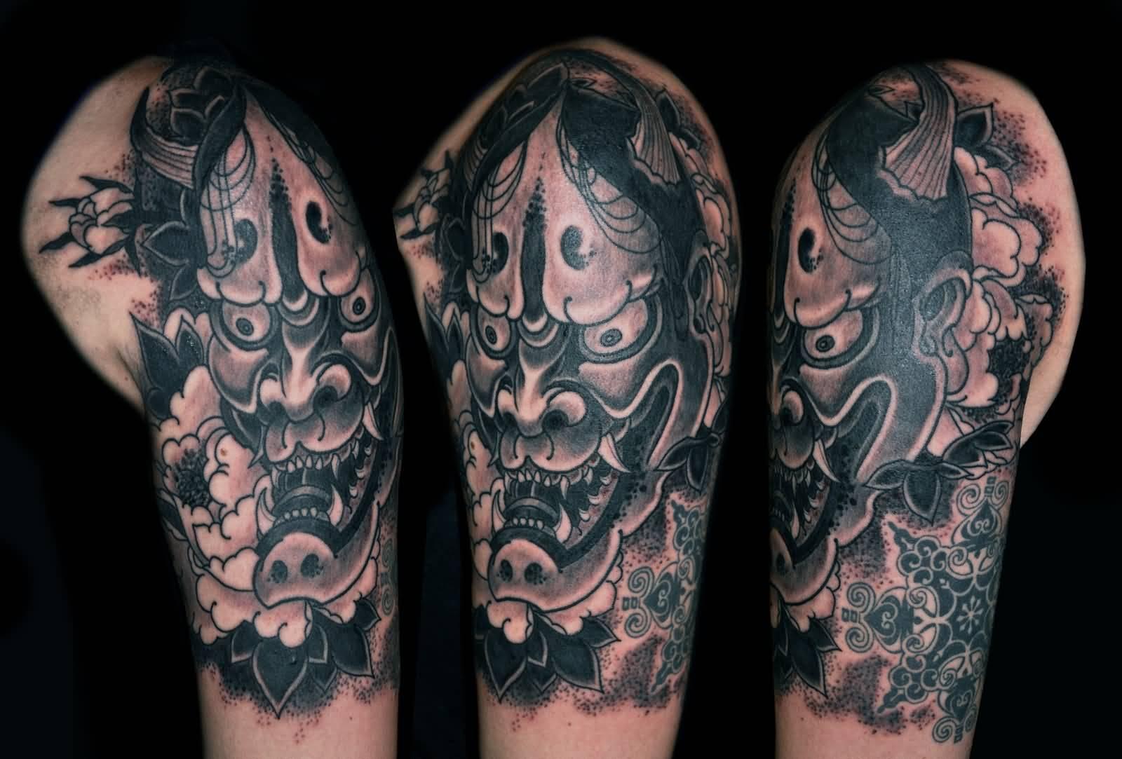 e84c1fb74af99 Black And Grey Hannya Mask Tattoo On Left Shoulder