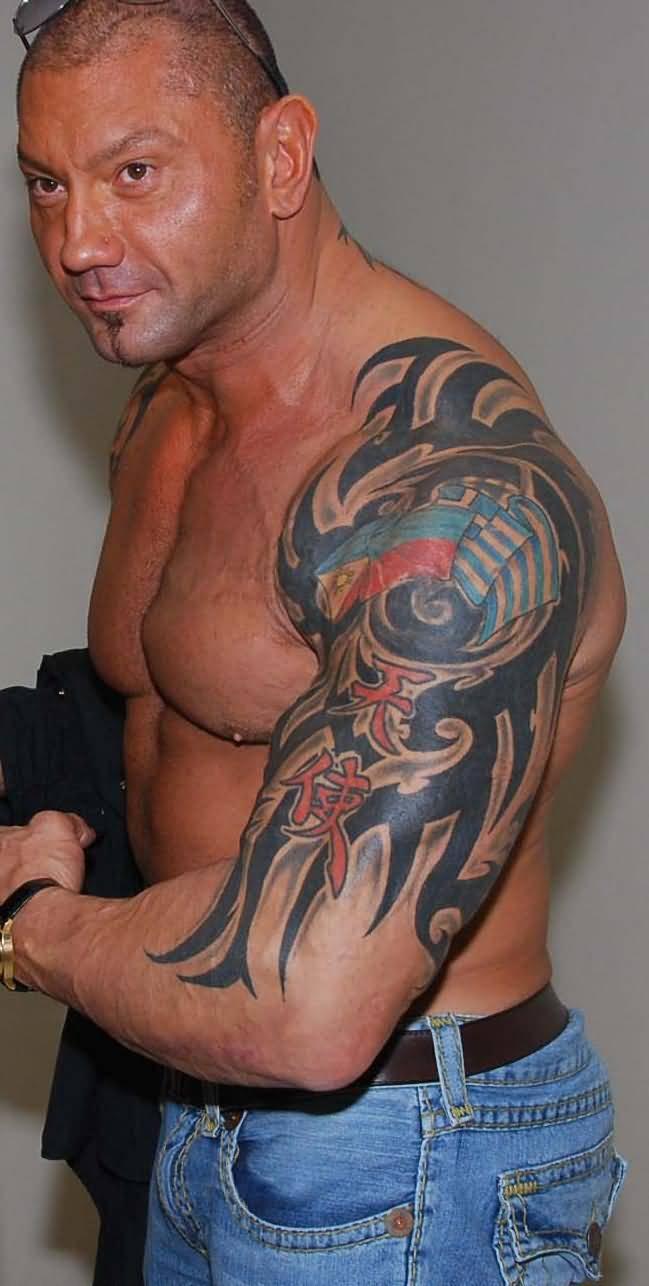 Tribal-Tattoos Classic-Tribal-Design-Tattoo-On-WWE-Batista-Left-Half-Sleeve
