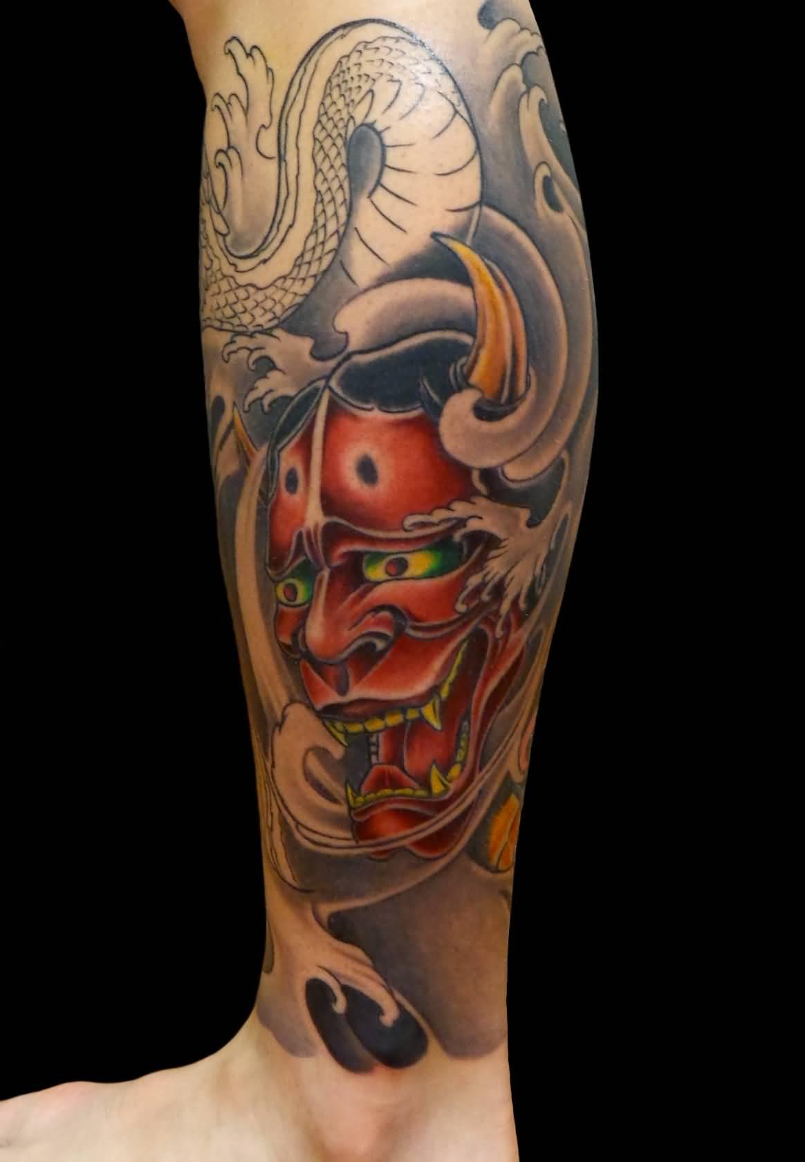 469f90067 Colored Hannya Leg Tattoo For Men