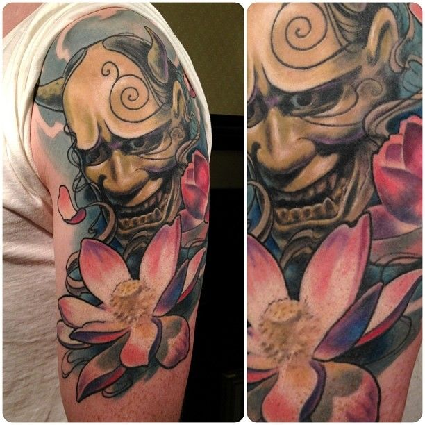 c7c07af49 Flower And Shige Hannya Tattoo On Left Half Sleeve