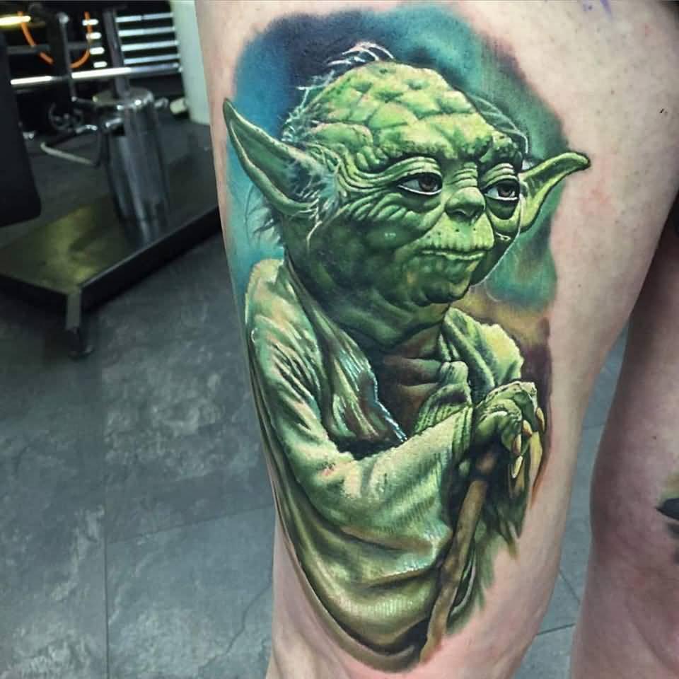 d1edb62a9 Green Ink Star War Yoda Tattoo On Right Thigh