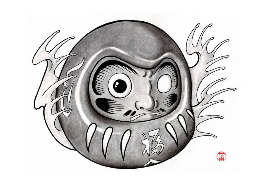 Grey Ink Daruma Doll Tattoo Design By Itinoshe Kenji