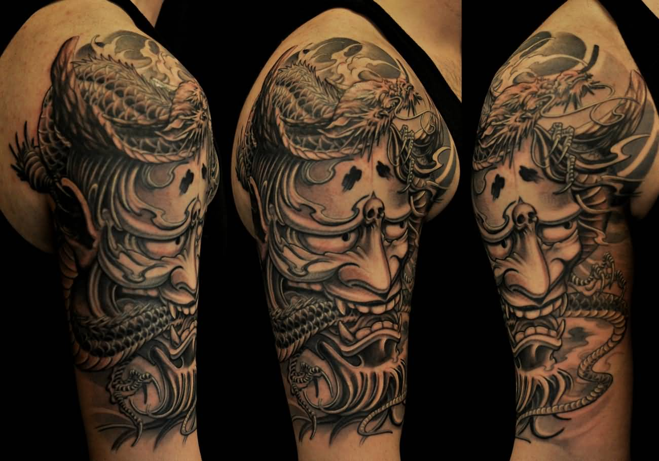 Japanese half sleeve tattoo designs - Grey Ink Hannya Tattoo On Right Half Sleeve