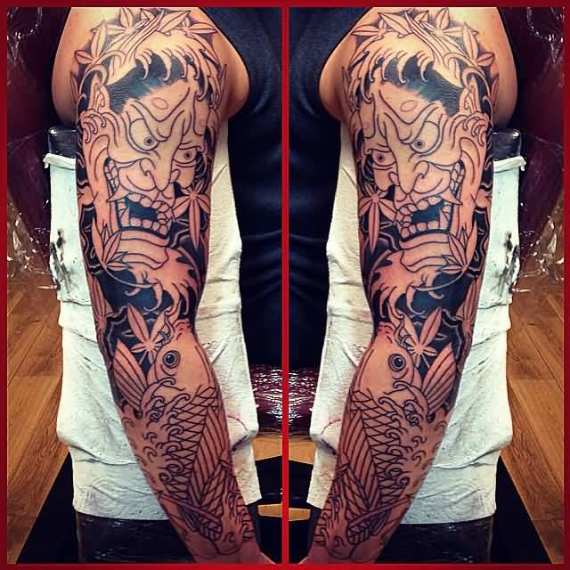 47 fantastic hannya sleeve tattoos. Black Bedroom Furniture Sets. Home Design Ideas