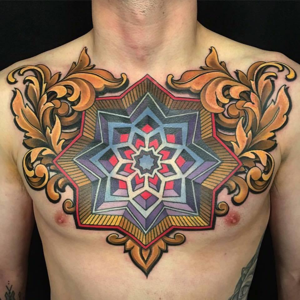 Beautiful Chest Piece Tattoo by Russ Abbott