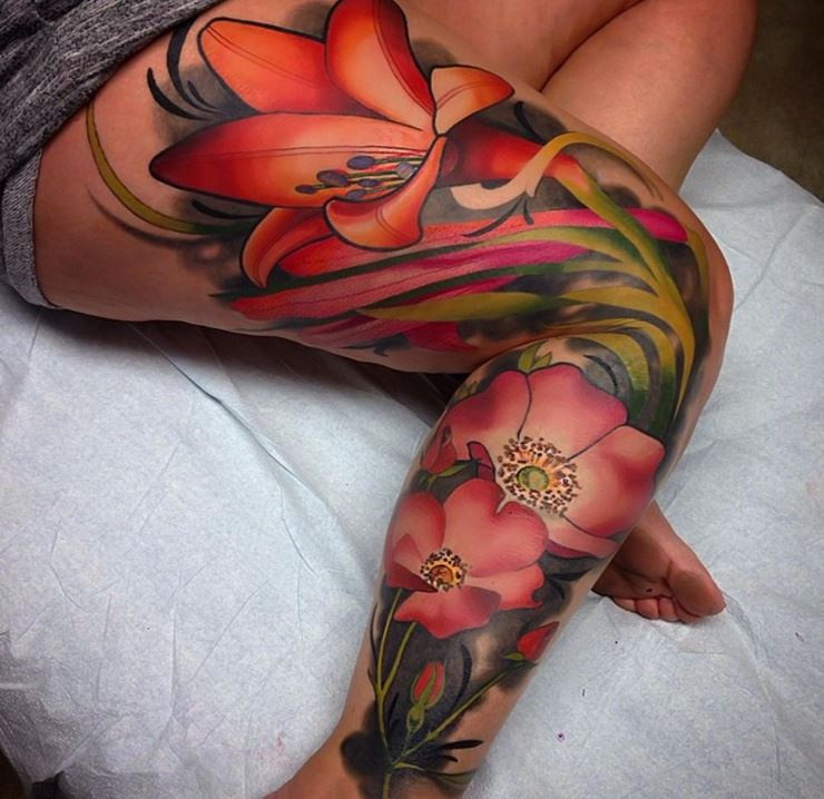 Beautiful flowers tattoo on leg sleeve for Thigh sleeve tattoo