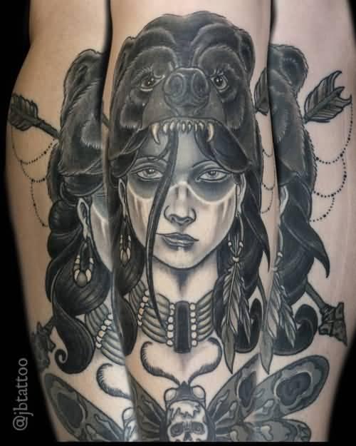 Black And Grey Bear Girl Tattoo Design By Jb Tattoo