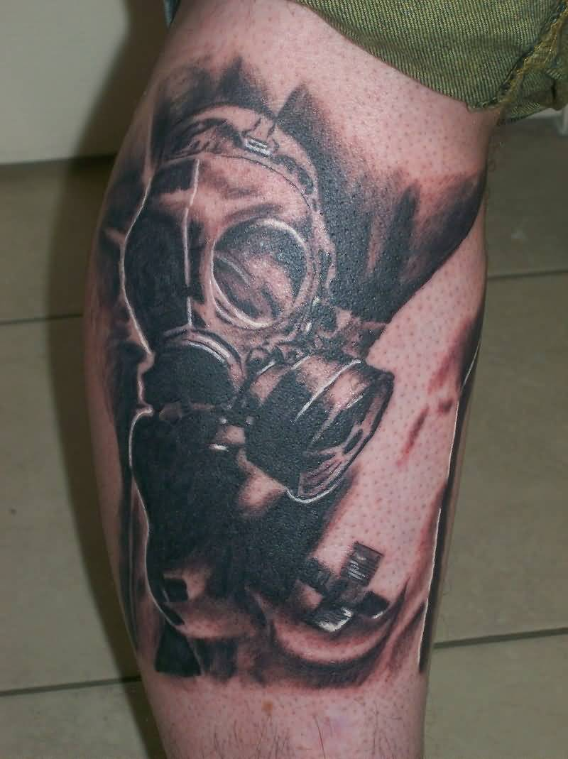 44 best gas mask tattoos collection - Black And Grey Gas Mask Tattoo On Leg For Men