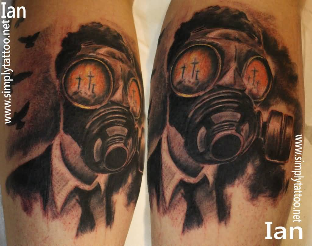 44 best gas mask tattoos collection - Black And Grey Zombie Gas Mask Tattoo