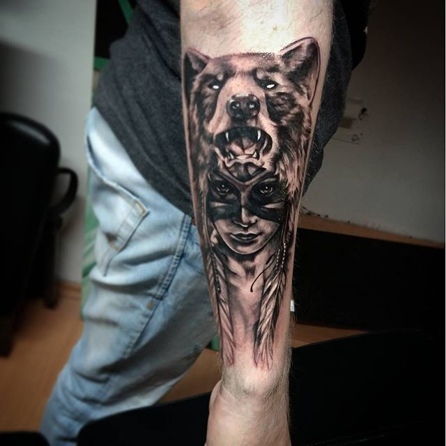d1339b05e Black Ink Bear Girl Tattoo On Right Sleeve