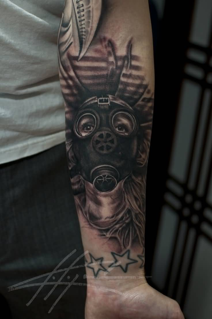 44 best gas mask tattoos collection - Black Ink Zombie Gas Mask Tattoo On Left Forearm