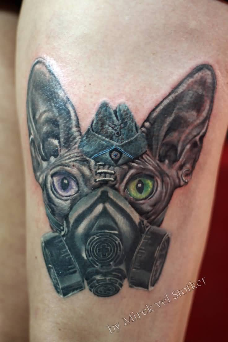 44 best gas mask tattoos collection - Cat With Gas Mask Tattoo