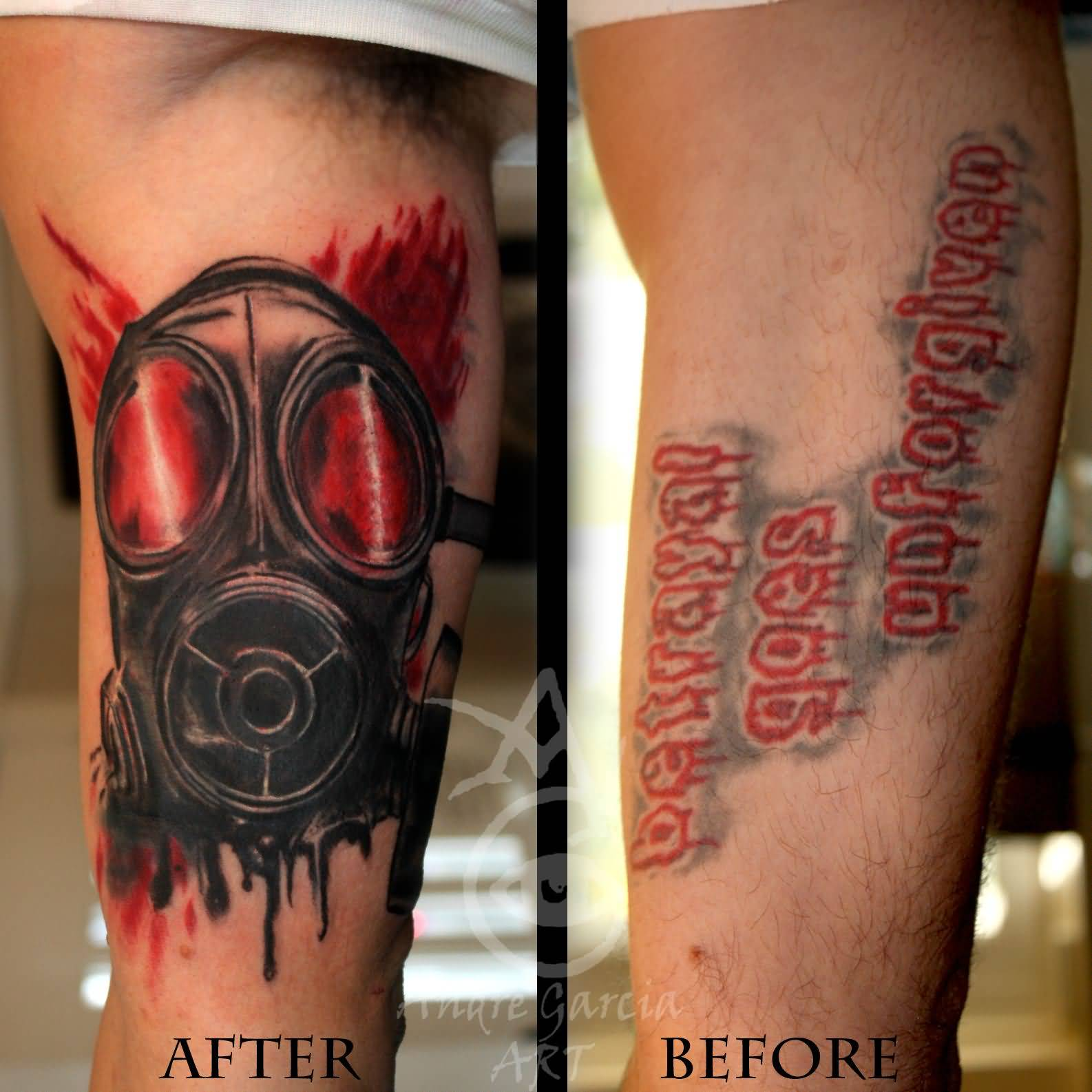 44 best gas mask tattoos collection - Danger Gas Mask Cover Up Tattoo On Bicep