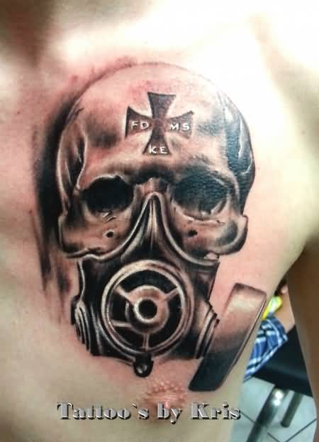 Gas Mask Tattoo On Chest By Kris