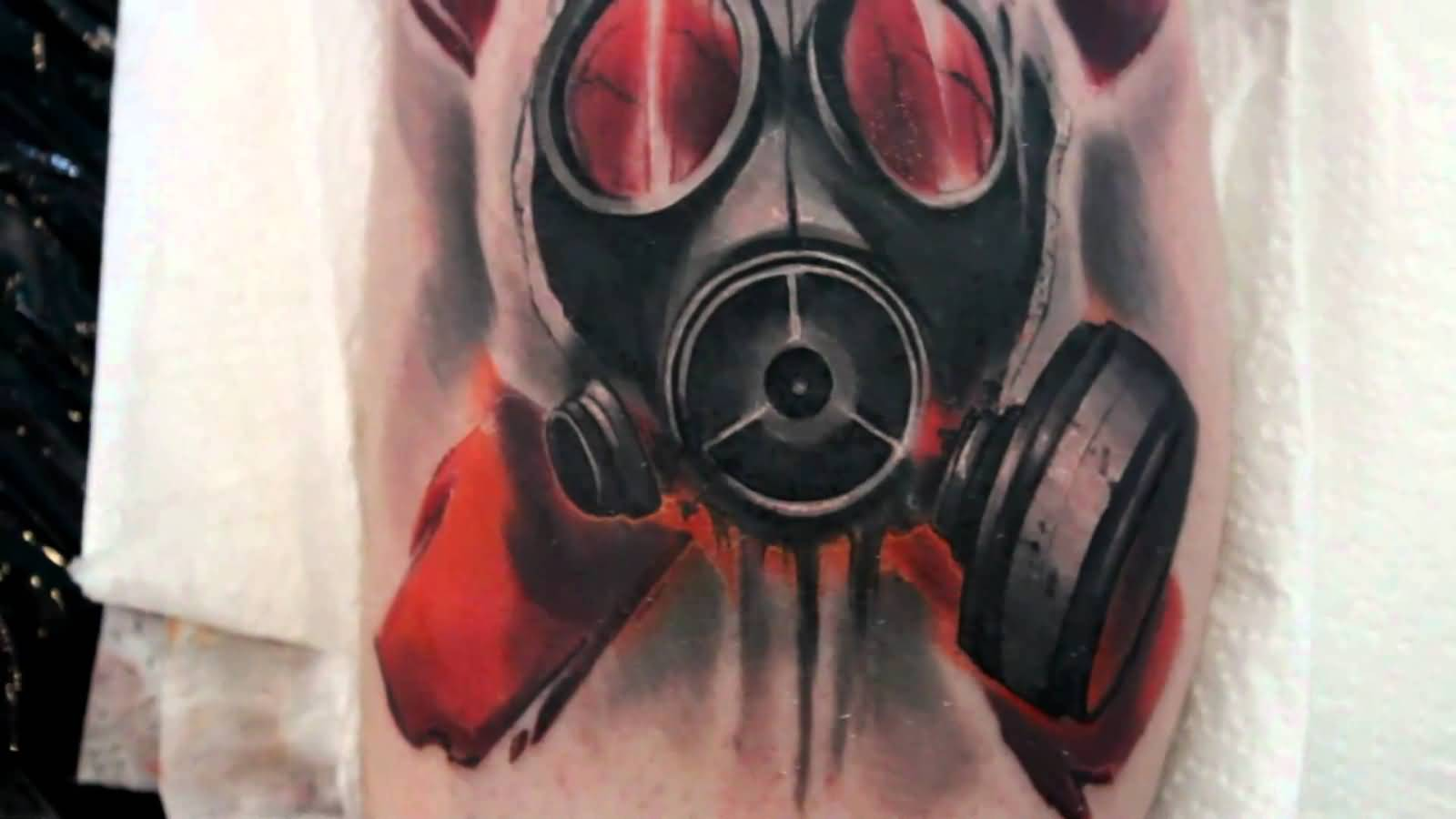 44 best gas mask tattoos collection - Gask Mask Tattoo Done By Kazik Kosa 44 Best Gas Mask Tattoos Collection