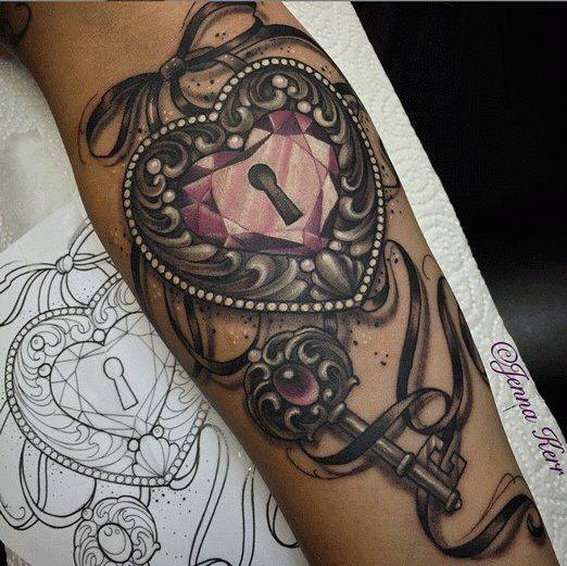 4 beautiful lock and key tattoos for girls for Heart lock and key tattoo
