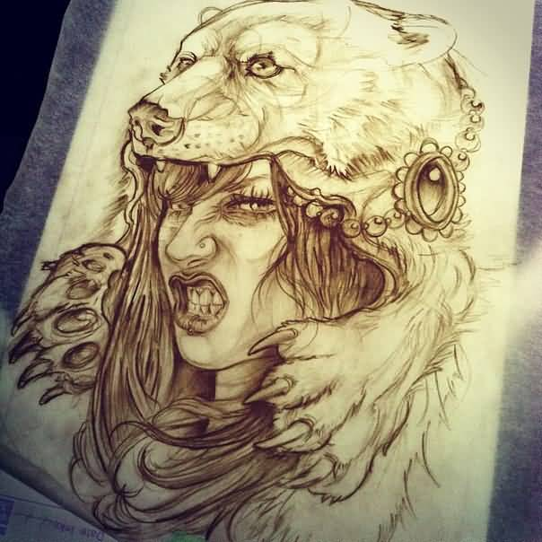 Bear headdress drawing - photo#1